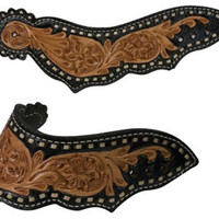 Saddles Tack Horse Supplies - ChickSaddlery.com Showman Dove Wing Leather Spur Straps With Floral Tool