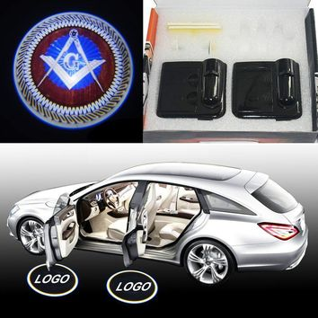 2pcs Wireless Magnetic Car Door Step LED Masonic Logo Light Projector