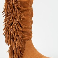 Bamboo FRIENDS-14 Fringe Knee High Moccasin Flat Boot