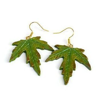 Bright Maple Leaf Dangle Earrings in Green, Yellow, Copper