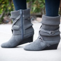 ANNA Grey Buckled Slouchy Sweater Knit Ankle Boot - Shoes 4 U Las Vegas
