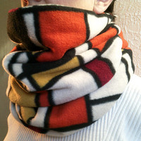 Orange & Black Infinity Scarf Red Yellow Orange Abstract Print Mondrian - Great Christmas Gift - Stocking Stuffer