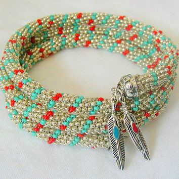 Turquoise Silver and Red Spiral Rope Memory Wire Bracelet~Beadwoven Bracelet~Spiral Rope Bracelet~Memory Wire Bracelet~Boho Bracelet~Hippie
