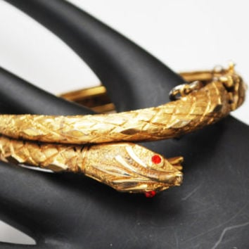 Gold Snake Hinged bracelet - Red rhinestone Eye - Safety chain