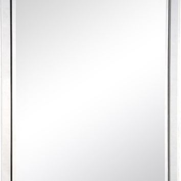Quick Overview:Mirror Framed Mirror With Antiqued Silver Leaf Sides