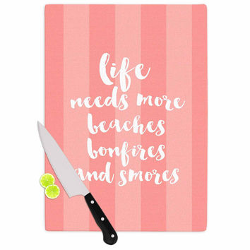 """Sylvia Cook """"Beaches & Bonfires - Coral"""" Pink Typography Cutting Board"""