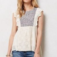 BLOUSE 4 6 NEW Anthropologie Stitched Anthea Top By Meadow Rue, Ivory Cotton, Sz