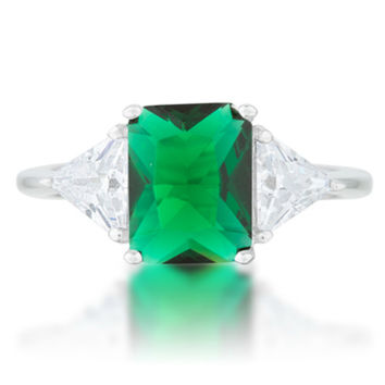 Gretchen Emerald Radiant Cut Three Stone Cocktail Ring  | 4.5ct | Cubic Zirconia | Sterling Silver
