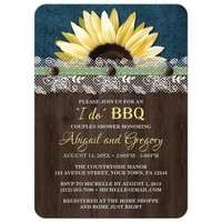 Couples Shower Invitations - Sunflower Denim Wood Lace I Do BBQ