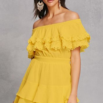 Crinkled Off-the-Shoulder Dress