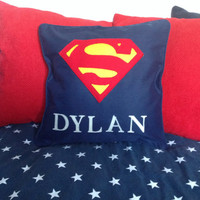 Personalised Superman childrens pillow cushion with their name, zipped and piped comic character