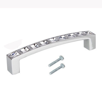 1Pcs Postmodern Europe Style Crystal Rhinestone Stainless Steel Door Cabinet Drawer Pull Handle for Kitchen Cupboard Furniture
