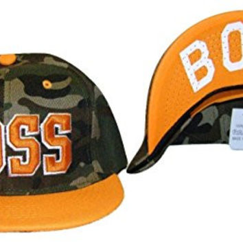 Boss Adjustable OSFA Flat Bill Snapback Baseball Hat Cap Orange Camo
