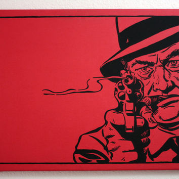 "Original ""GANGSTA"" 16x20 Red Acrylic Painting on Canvas. This is artwork for MEN."