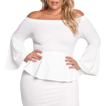 Chicloth White Off The Shoulder Bell Sleeves Peplum Plus Dress