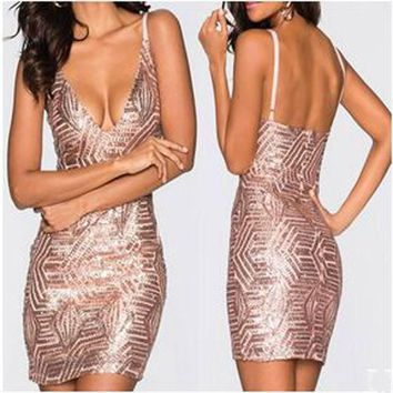 Golden Geometric Sequin Deep V-neck Spaghetti Strap Backless Bodycon Clubwear Mini Dress
