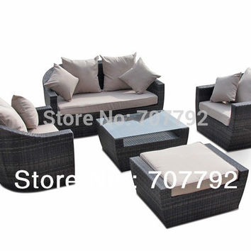 New Design outdoor furniture high back rattan sofa set