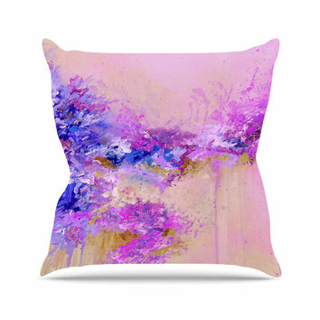 "Ebi Emporium ""When Land Met Sky 2"" Purple Pink Outdoor Throw Pillow"