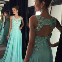 A-Line Prom Dresses,Mint Green Prom Dress,Long Evening Dresses