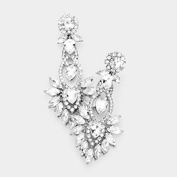 Floral Marquise Stone Detail Evening Earrings