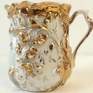 Antique Gold & White Porcelain Shaving Mug, Victorian Gilt China Cup