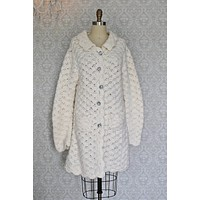 Vintage Handknit  Scalloped Cardigan Sweater
