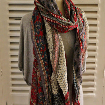 Spring-Summer Chiffon Scarf, Red Paisley Scarf, Upcycled Red Paisley Shawl