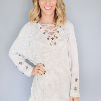 Evergreen Lace Up Sweater Silver