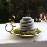 Bohemian Beach Home Decor , Stone Cairn Sculpture with Faux Moss on a Vintage Indian Brass Holder