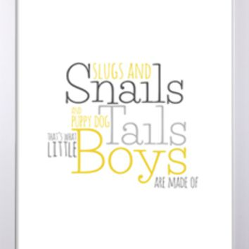 Slugs and Snails Modern 8x10 or 11x14 Print