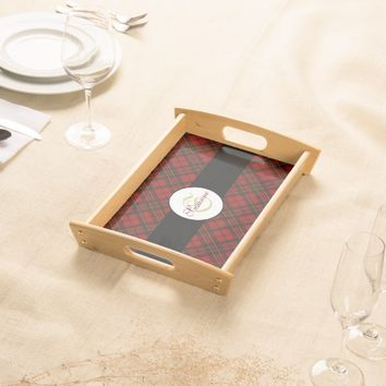 Adorable Red Christmas tartan Monogram Serving Tray
