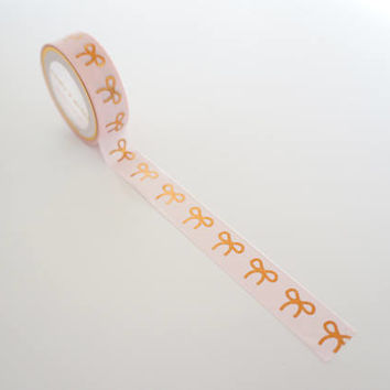 Pink with rose gold foil bow washi tape