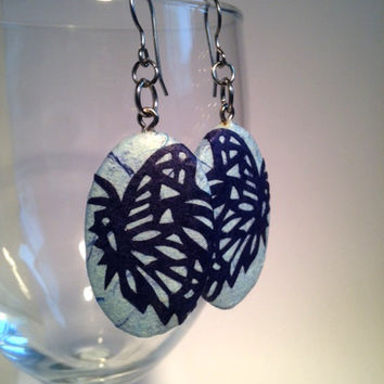 Blue Butterfly Paper Earrings Dangle Blue Navy Design Good Luck Fortune Hypoallergenic hooks Lightweight Ear rings