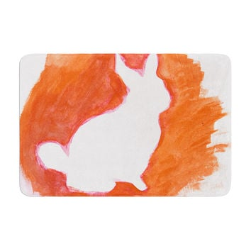 "Theresa Giolzetti ""Orange You A Bunny"" Abstract Paint Memory Foam Bath Mat"