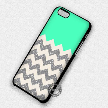 Glittery Chevron Turquoise - iPhone 7 6S 5C SE Cases & Covers
