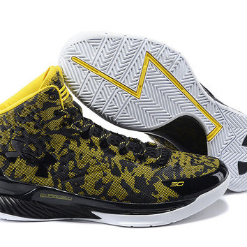 Men's Under Armour Stephen Curry One Away Gold Black Basketball Shoes