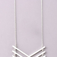 Three Piece Chevron Long Necklace - Silver