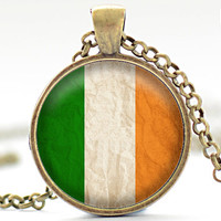 Irish Flag Necklace, Ireland Jewelry, Irish Flag Pendant, Your Choice of Finish (1725)
