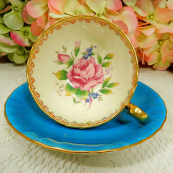 Aynsley Bone China Porcelain Footed Cup & Saucer ~ Roses ~ Turquoise ~ Gold
