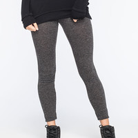 Full Tilt Ribbed Womens Leggings Charcoal  In Sizes