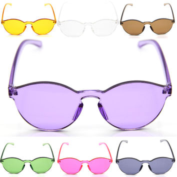 Fashion Women Men Sunglasses Cat Eye Shades Candy Color Sun glasses Transparent Goggles Integrated Eyewear UV400 oculos de sol