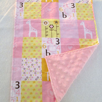 Pink and Yellow Giraffe Flannel and Minky Toddler Quilt, Security Blanket - Lovey