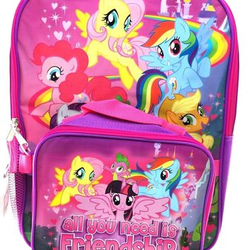 "My Little Pony 16"" Backpack with Detachable Insulated Lunch Bag"
