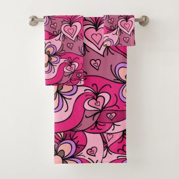 Cute hearts and flowers pattern bath towel set
