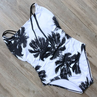 One Piece Swimsuit 2017 Sexy Swimwear Women Bathing Suit Swim Vintage Beach Wear Print Bandage Push up Monokini Swim Suit-0306