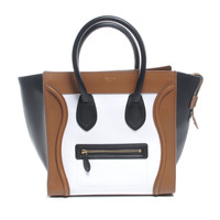 CELINE Smooth Leather Tricolor Mini Luggage