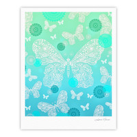 "Monika Strigel ""Butterfly Dreams Mint"" Aqua Teal Fine Art Gallery Print"