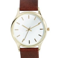 ASOS Grandad Watch with Gold Case - Brown