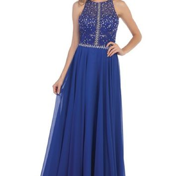 Beaded Bodice Chiffon Skirt Dress- Royal Blue