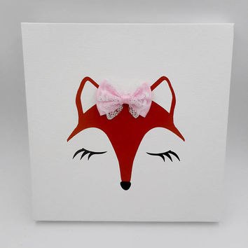 Fox Wall Art, Fox Sign, Fox Canvas Art, Fox Decor, Fox Nursery decor, Fox Face with Pink Bow, Fox Canvas Wall Decor, Baby Girl Nursery